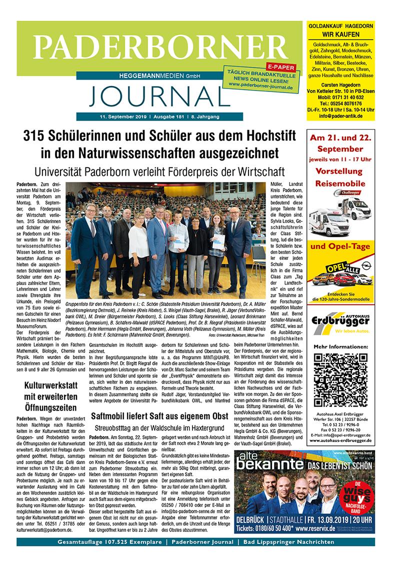 Paderborner Journal 181 vom 11.09.2019